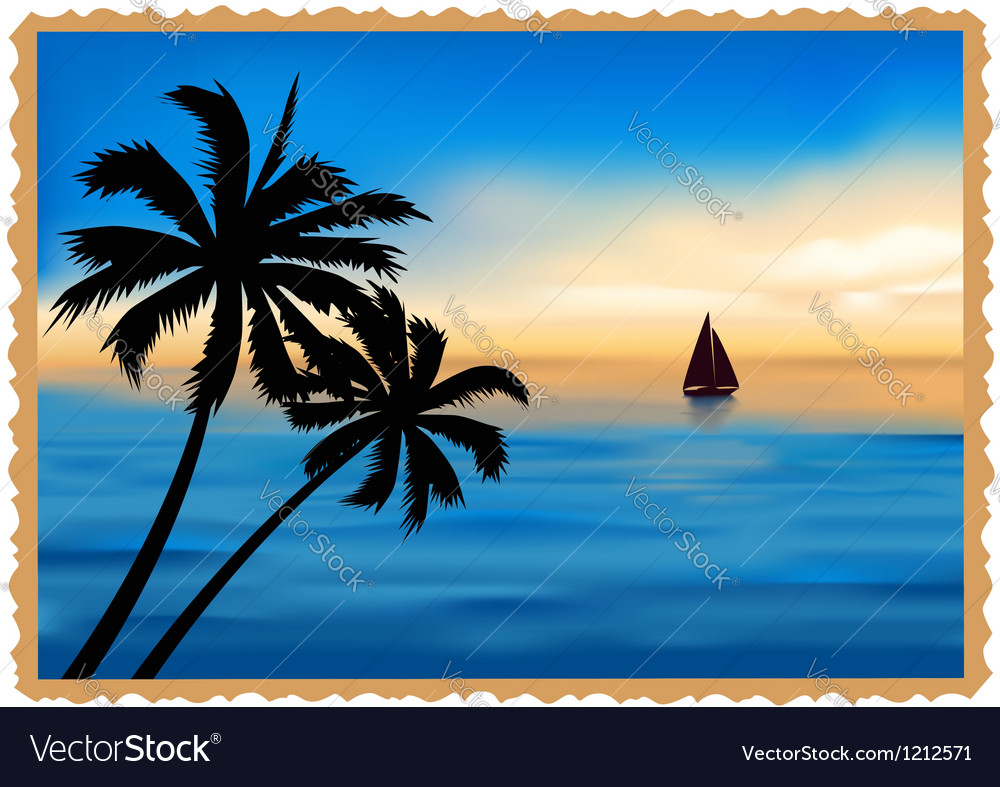 Postcard depicting the beach palm trees and sea vector | Price: 1 Credit (USD $1)