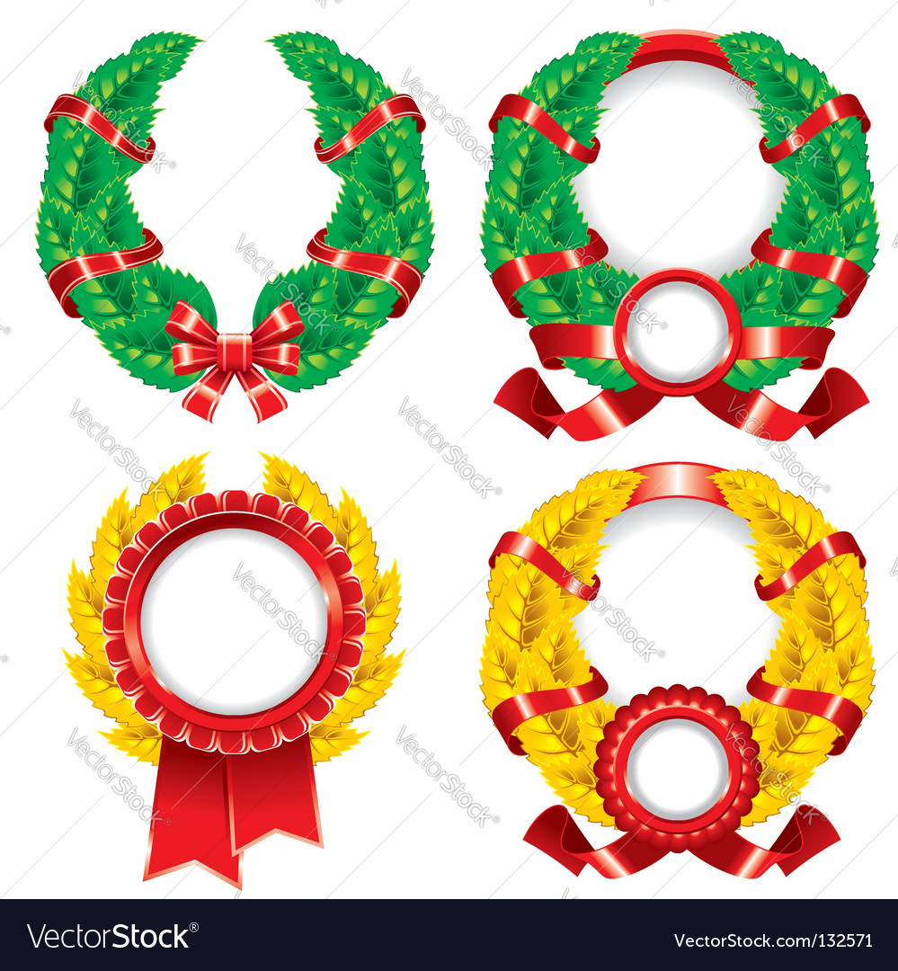 Set of wreaths and emblems vector | Price: 1 Credit (USD $1)