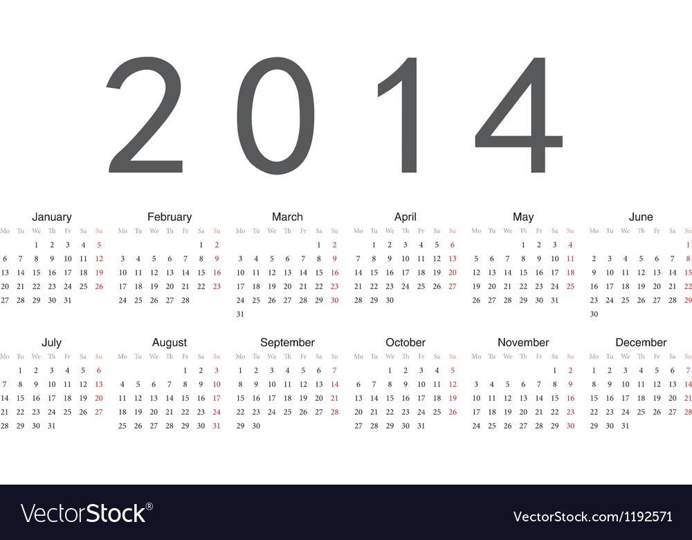 Simple calendar 2014 vector | Price: 1 Credit (USD $1)