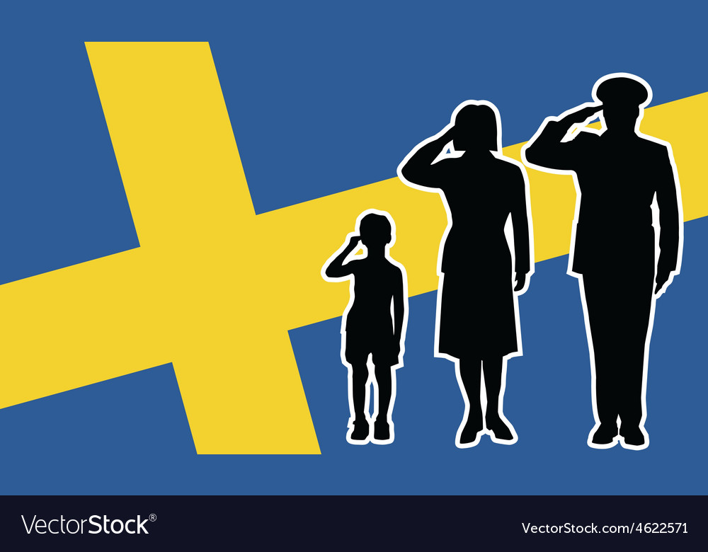 Sweden soldier family salute vector | Price: 1 Credit (USD $1)