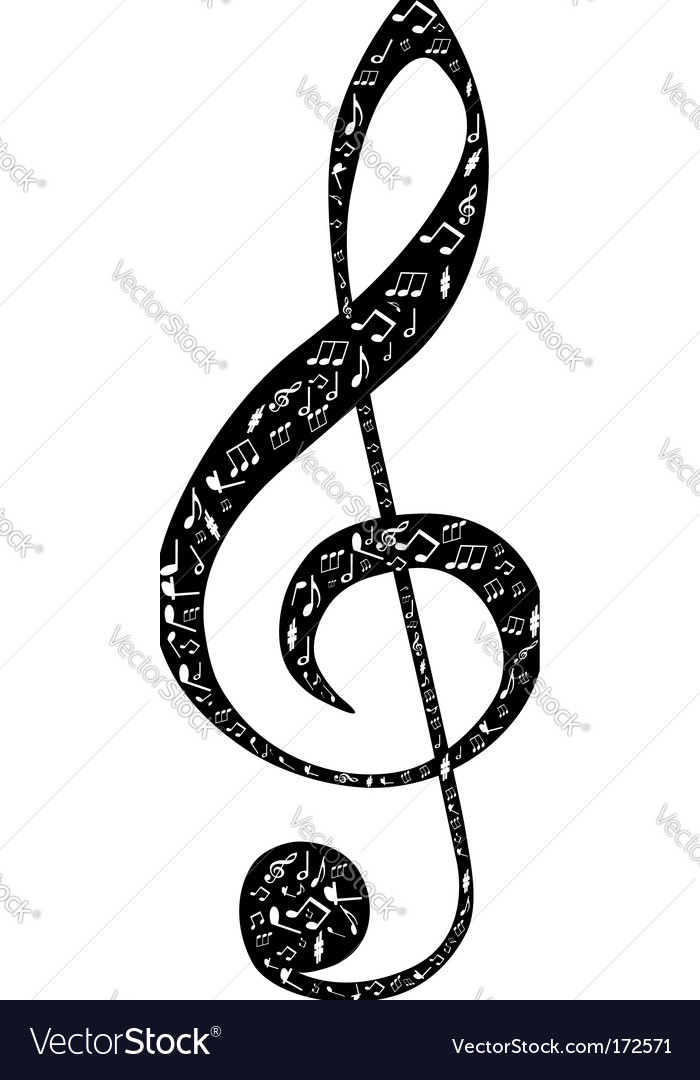 Treble clef design vector | Price: 1 Credit (USD $1)