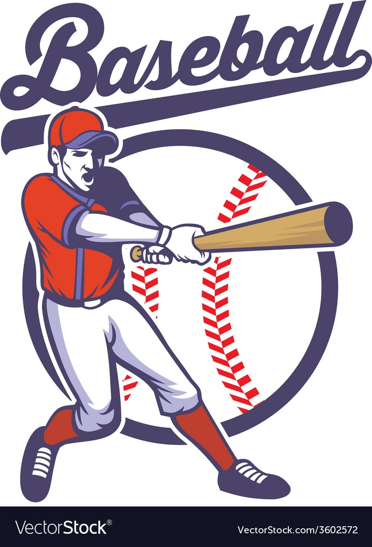 Baseball player hitting the ball vector | Price: 3 Credit (USD $3)