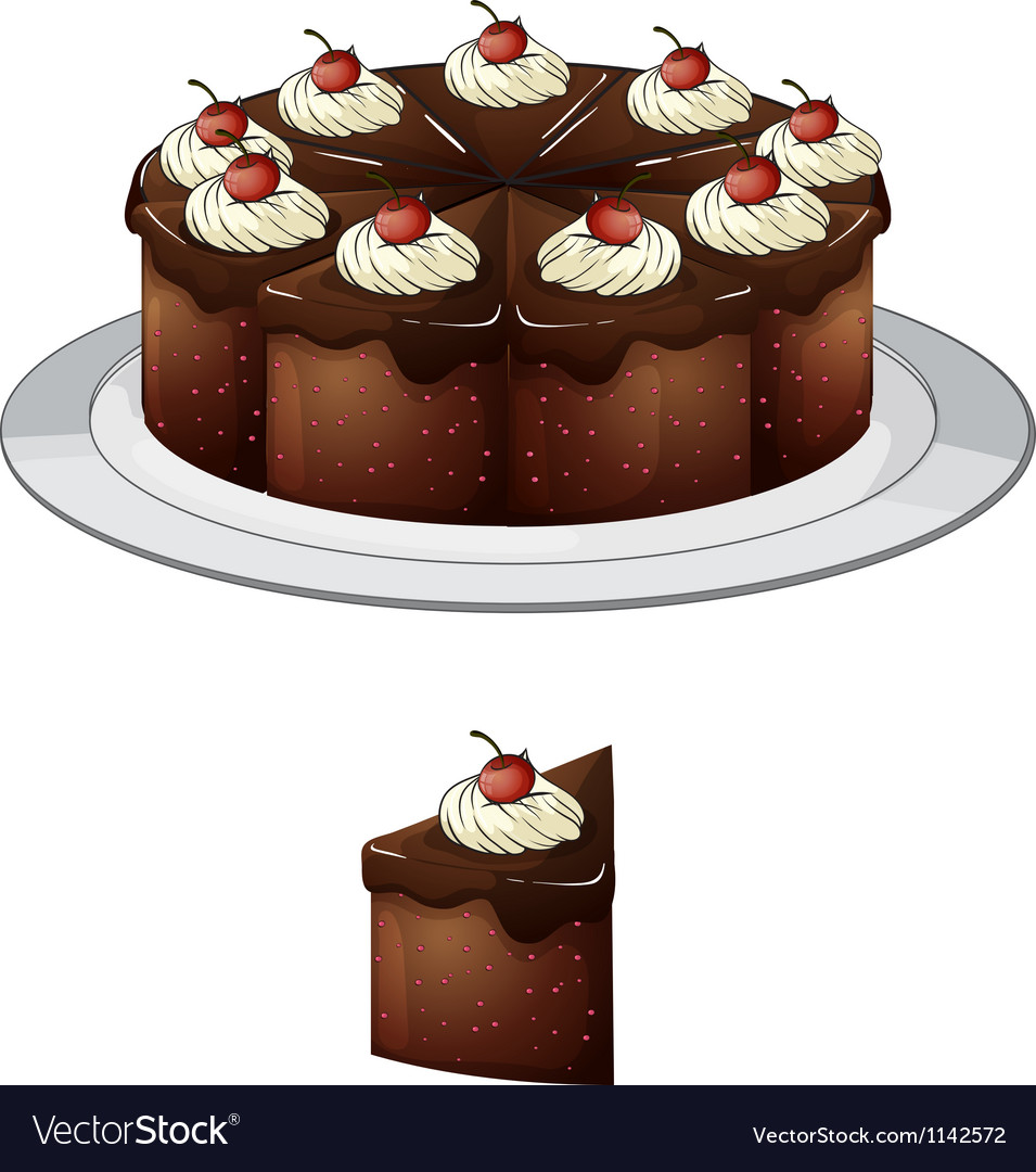 Chocolate cake with cherries vector | Price: 1 Credit (USD $1)