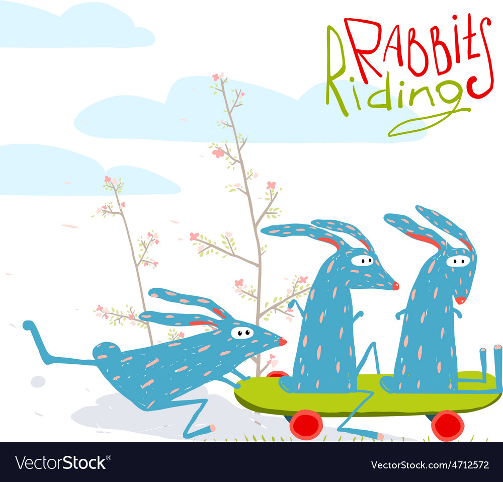 Colorful funny cartoon rabbits riding skateboard vector