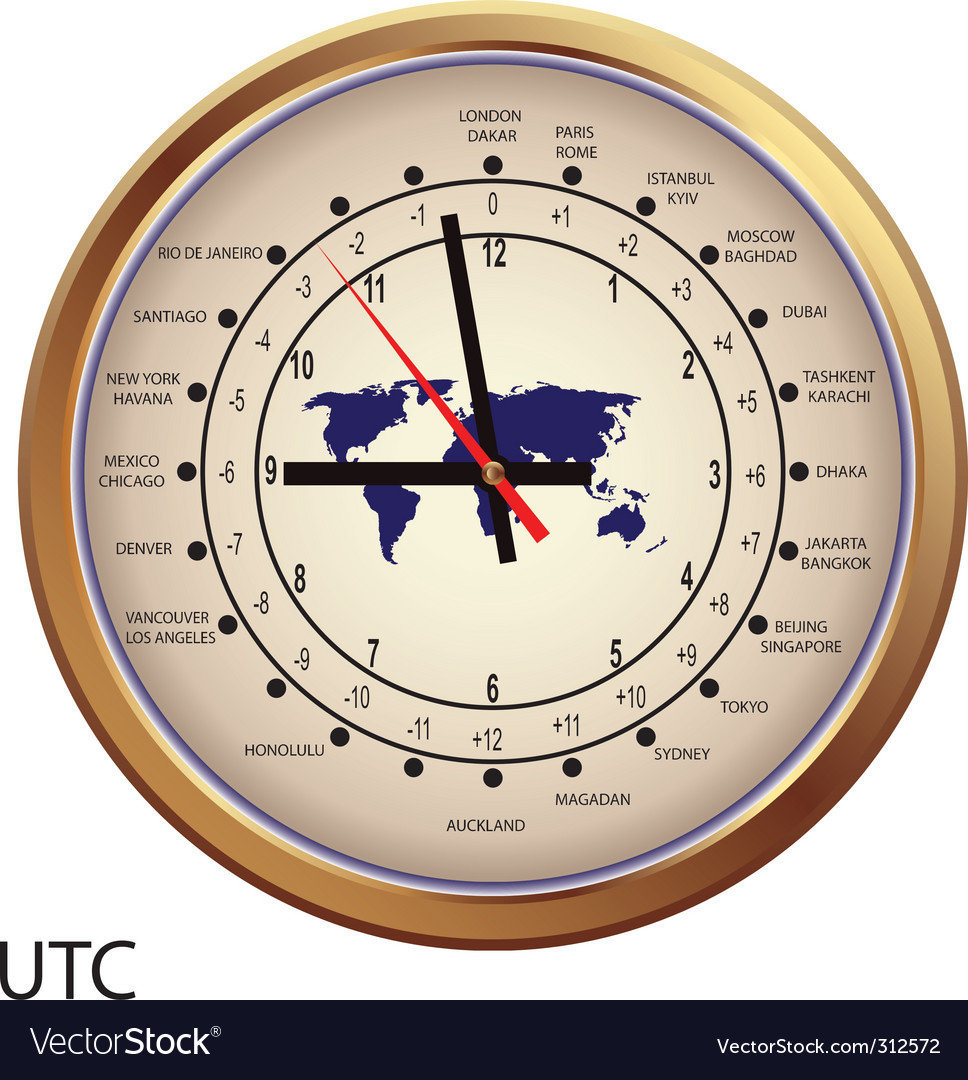 Gold clock with time zones vector | Price: 1 Credit (USD $1)