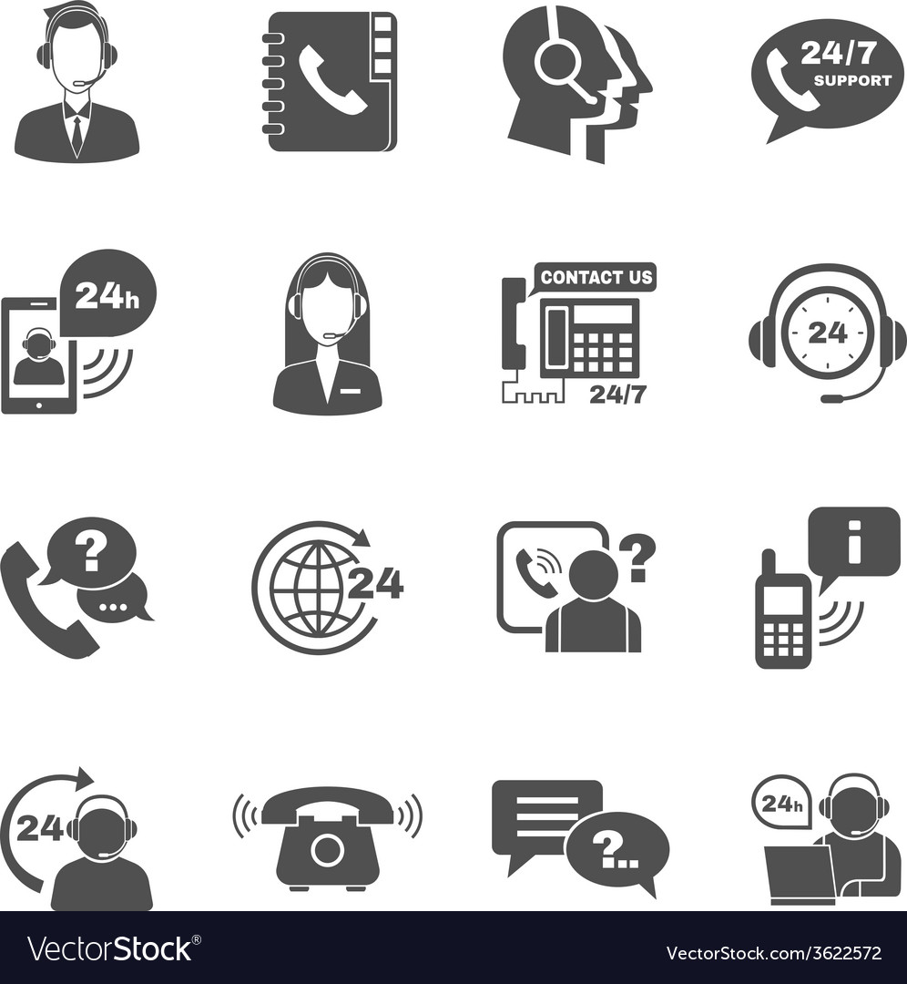 Support contact call center icons set vector | Price: 1 Credit (USD $1)