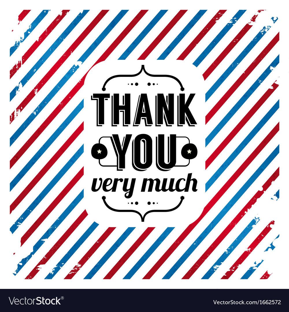 Thank you card on tricolor grunge background vector | Price: 1 Credit (USD $1)