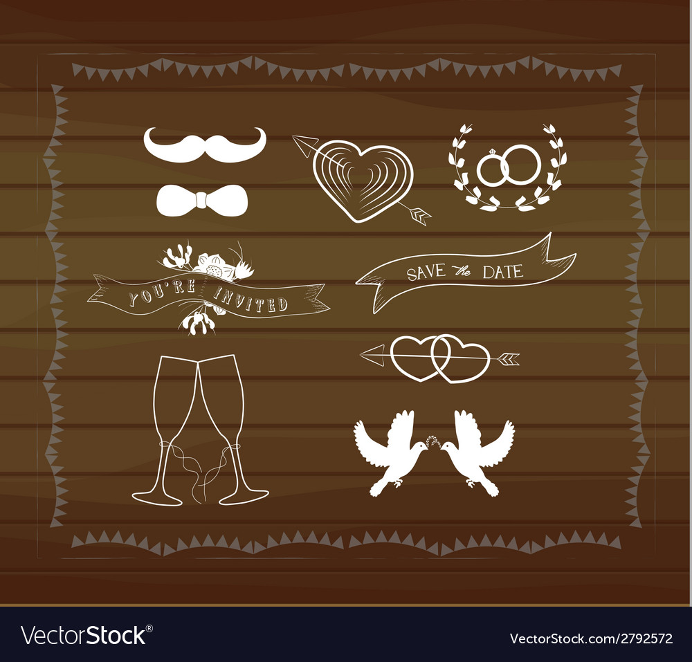 Vintage wedding elements vector | Price: 1 Credit (USD $1)