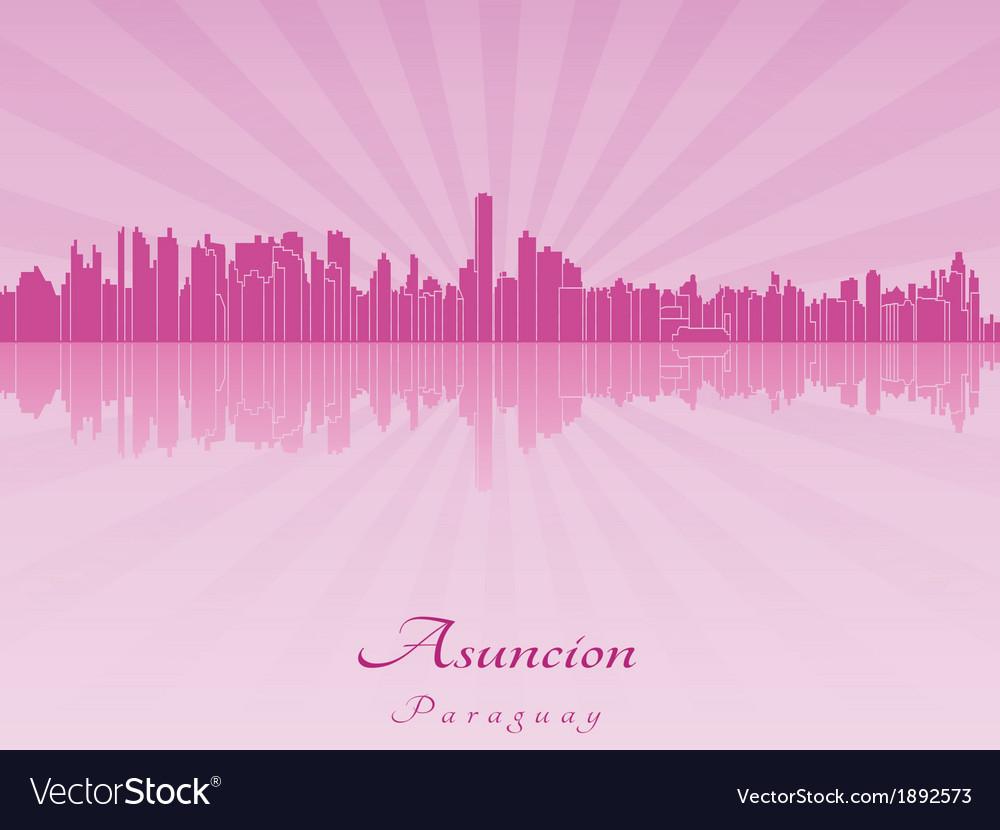 Asuncion skyline in purple radiant orchid vector | Price: 1 Credit (USD $1)
