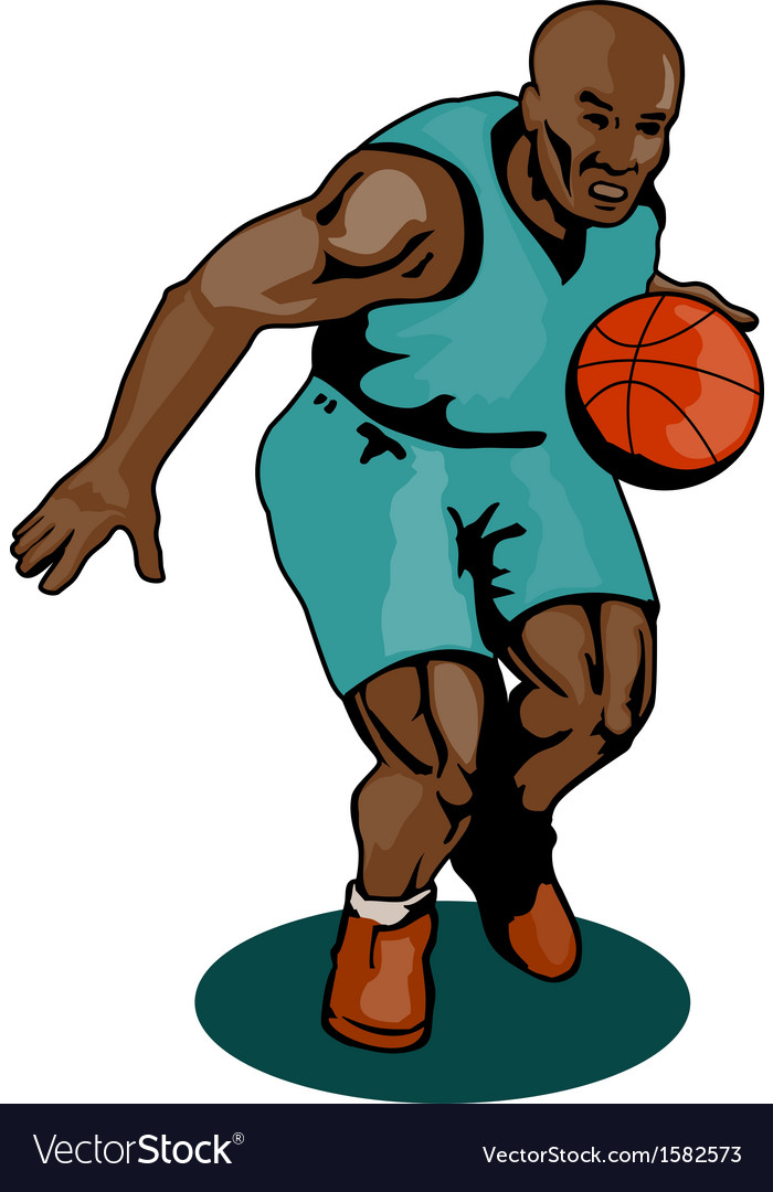 Basketball player dribbling vector | Price: 1 Credit (USD $1)