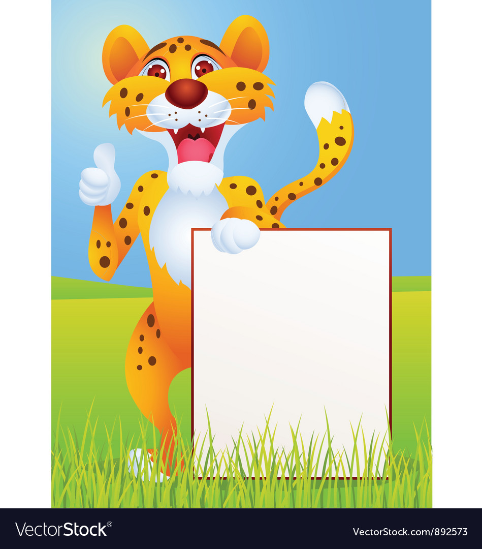 Cartoon cheetah with blank sign vector   Price: 1 Credit (USD $1)