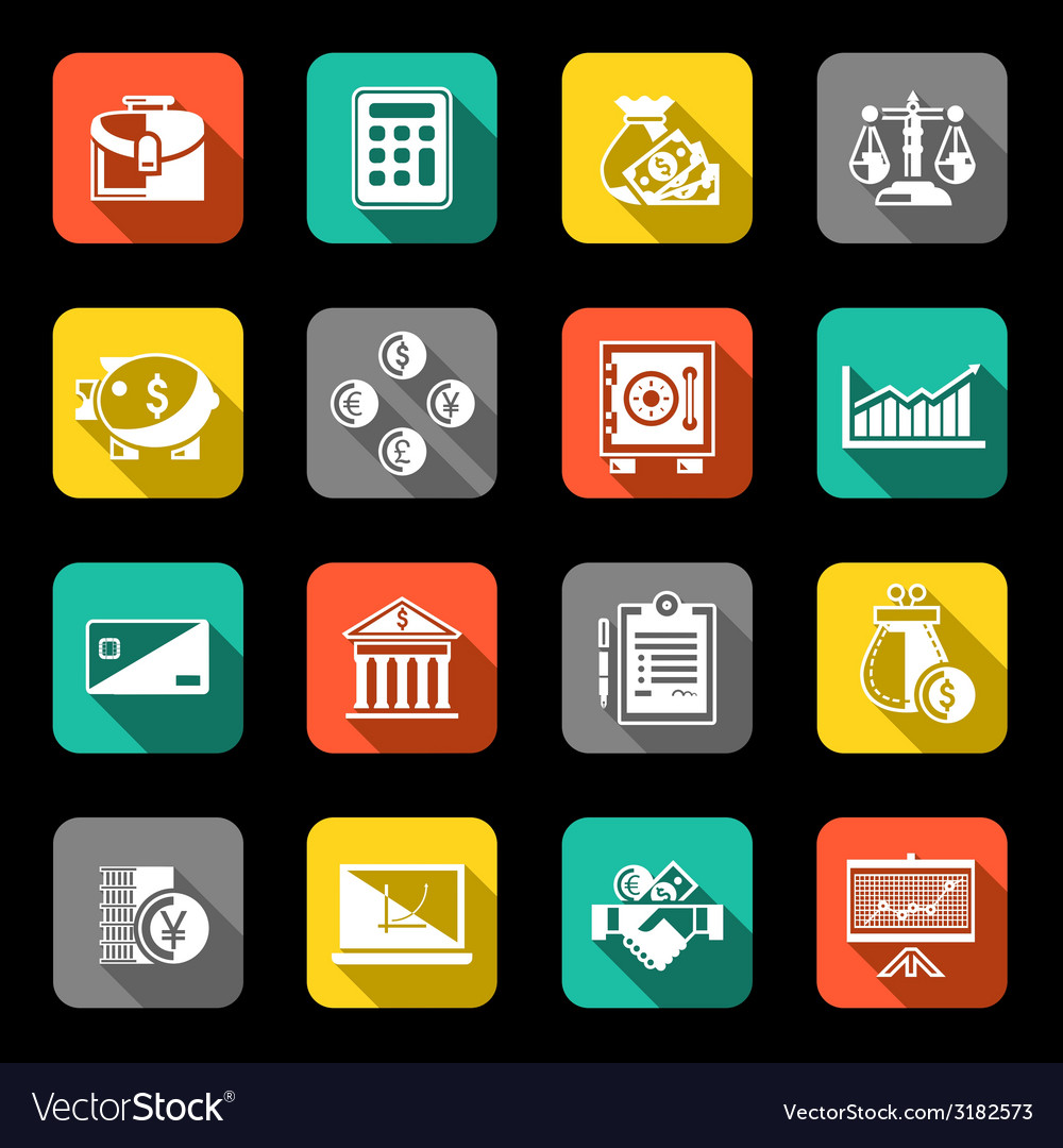 Finance icons set flat vector | Price: 1 Credit (USD $1)