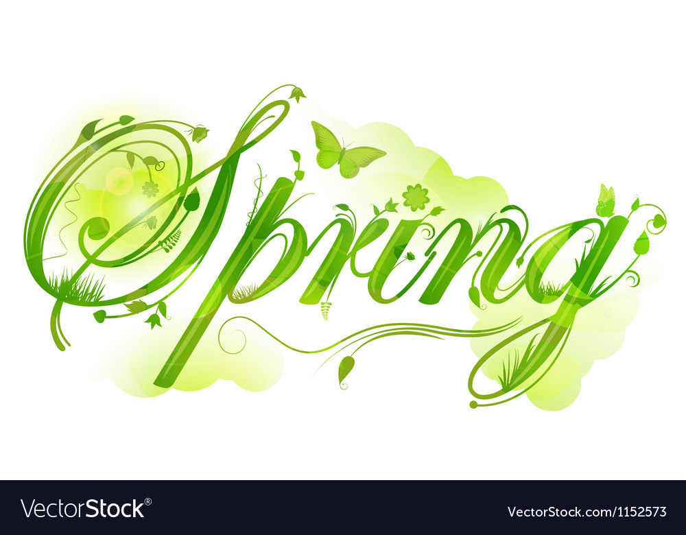 Floral spring text vector | Price: 1 Credit (USD $1)
