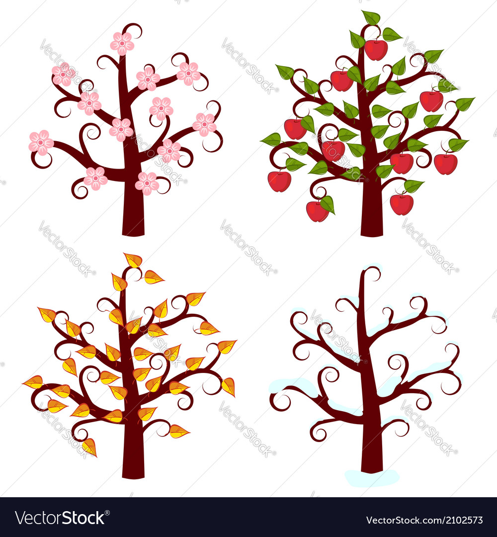 Four seasons trees art vector | Price: 1 Credit (USD $1)