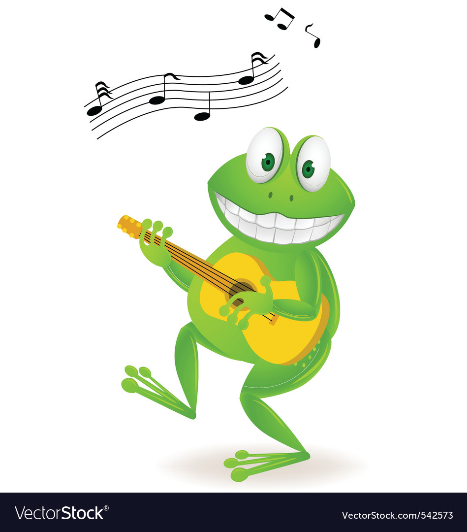 Frog playing music vector | Price: 3 Credit (USD $3)