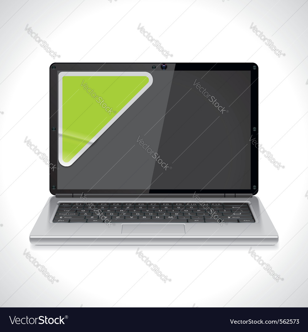 Laptop with sticker vector | Price: 1 Credit (USD $1)