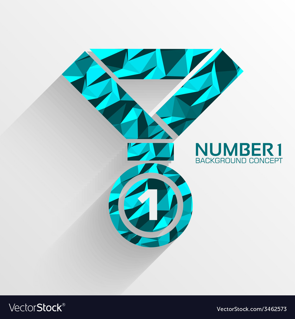 Polygonal medal number one background concept vector | Price: 1 Credit (USD $1)