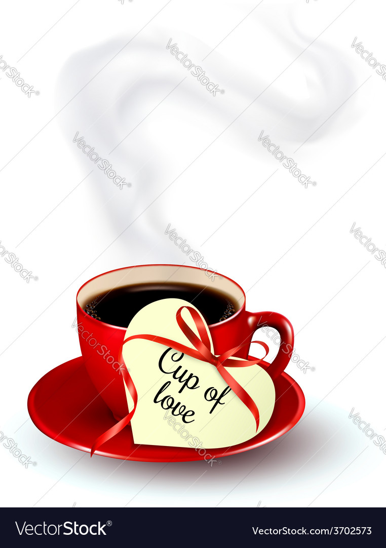 Red cup of coffee with a heart shaped valentine vector | Price: 1 Credit (USD $1)