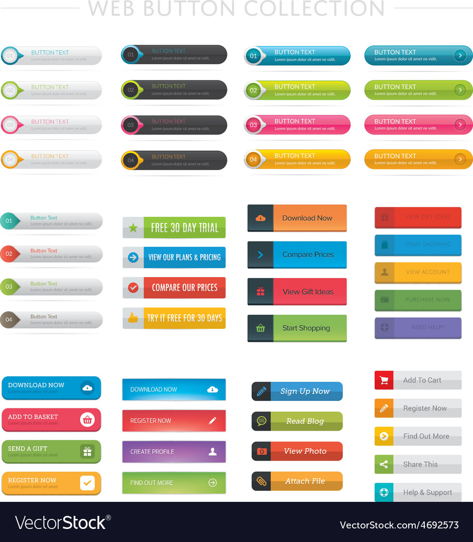 Web button collection vector | Price: 1 Credit (USD $1)