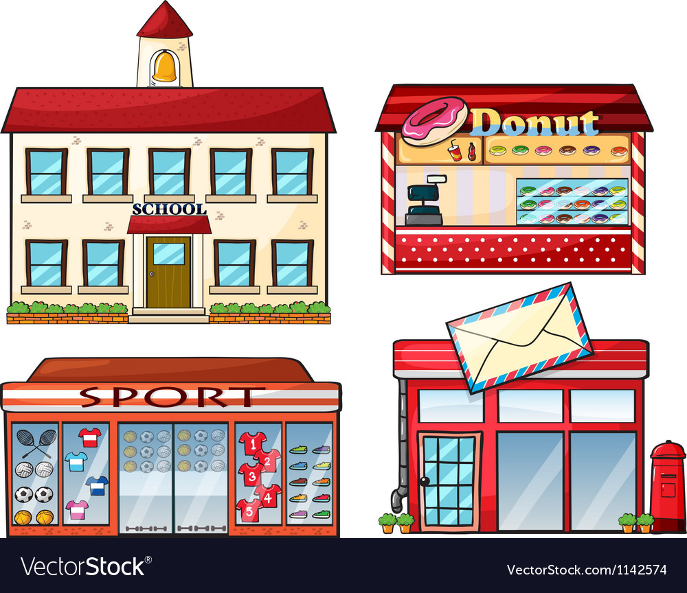 A school donut store sport shop and a post office vector | Price: 1 Credit (USD $1)