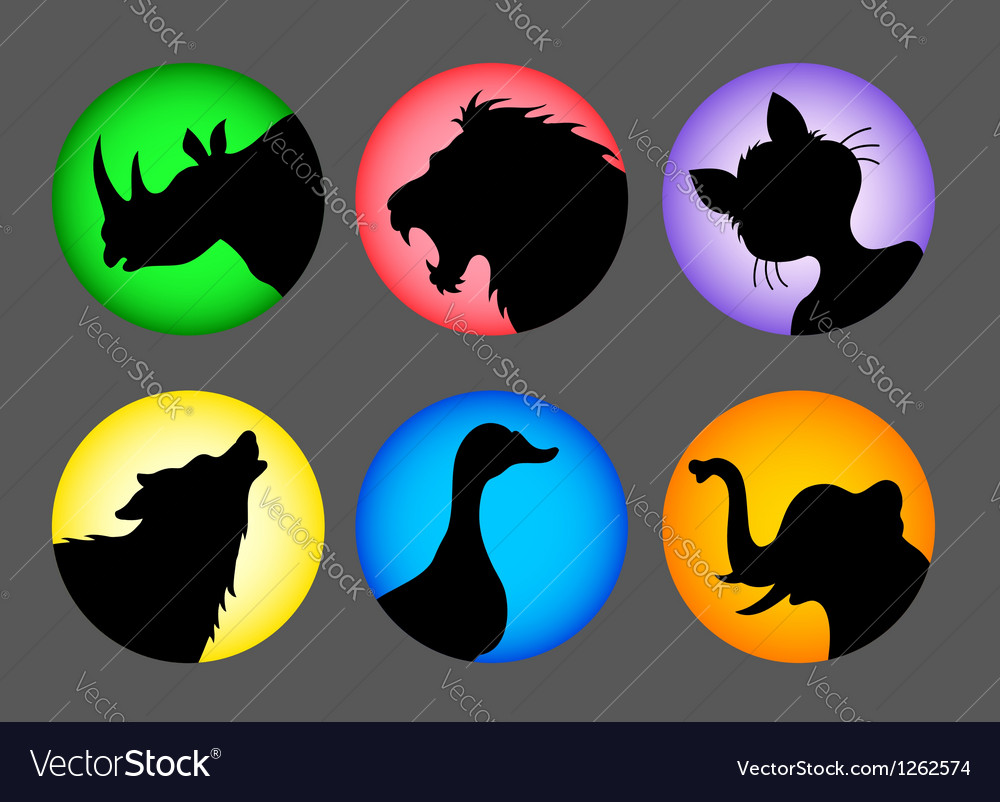 Animal silhouette color 1 icons vector | Price: 1 Credit (USD $1)
