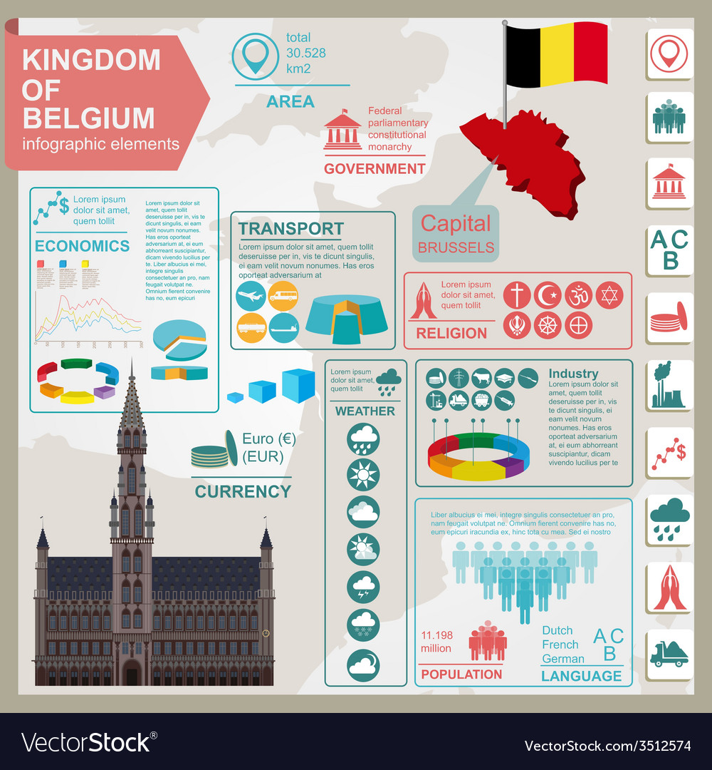 Belgium infographics statistical data sights vector | Price: 1 Credit (USD $1)