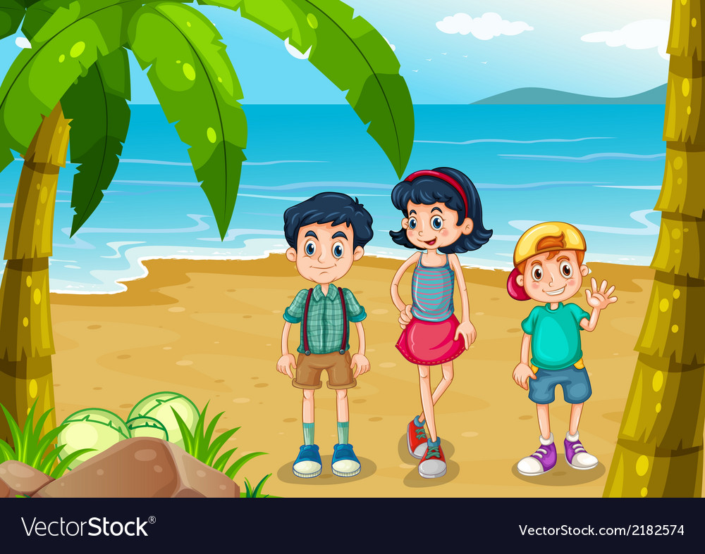 Children strolling at the beach vector | Price: 1 Credit (USD $1)