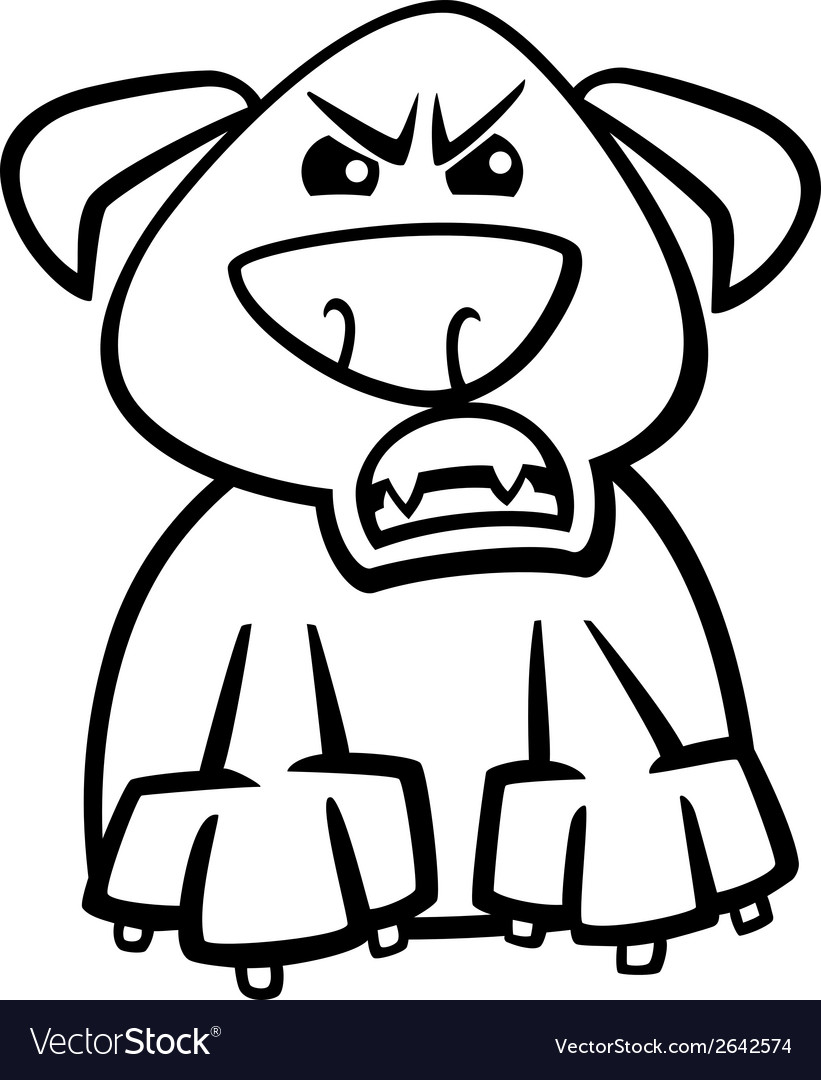 Furious dog cartoon coloring page vector | Price: 1 Credit (USD $1)
