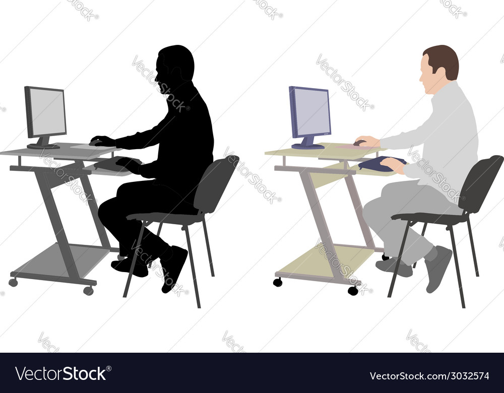 Man working on his desktop computer vector | Price: 1 Credit (USD $1)