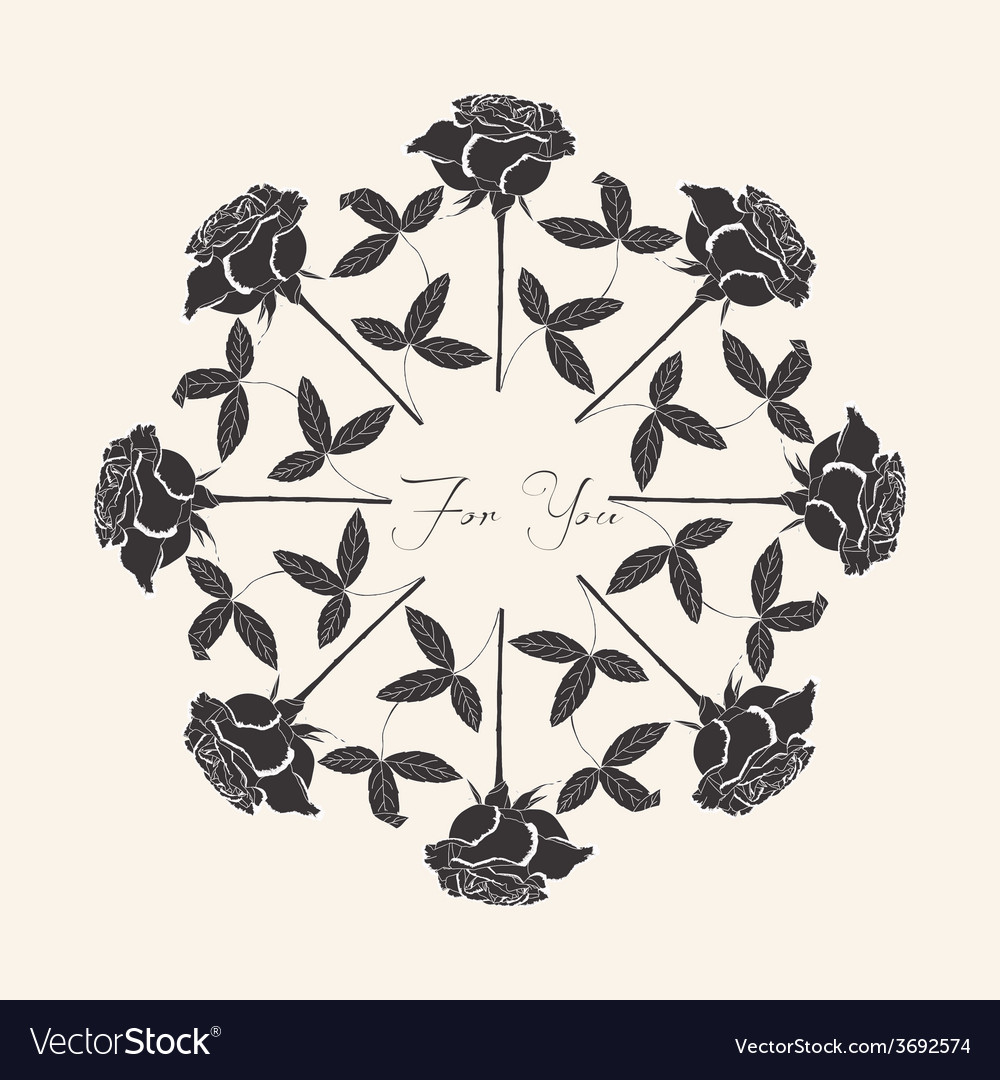 Ornamental round with black rose vector