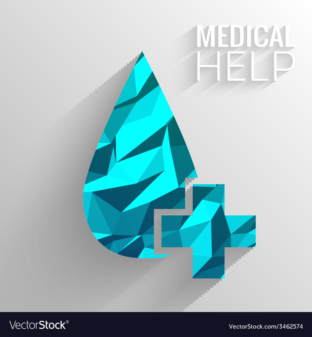 Polygonal medical blue cross background concept vector | Price: 1 Credit (USD $1)