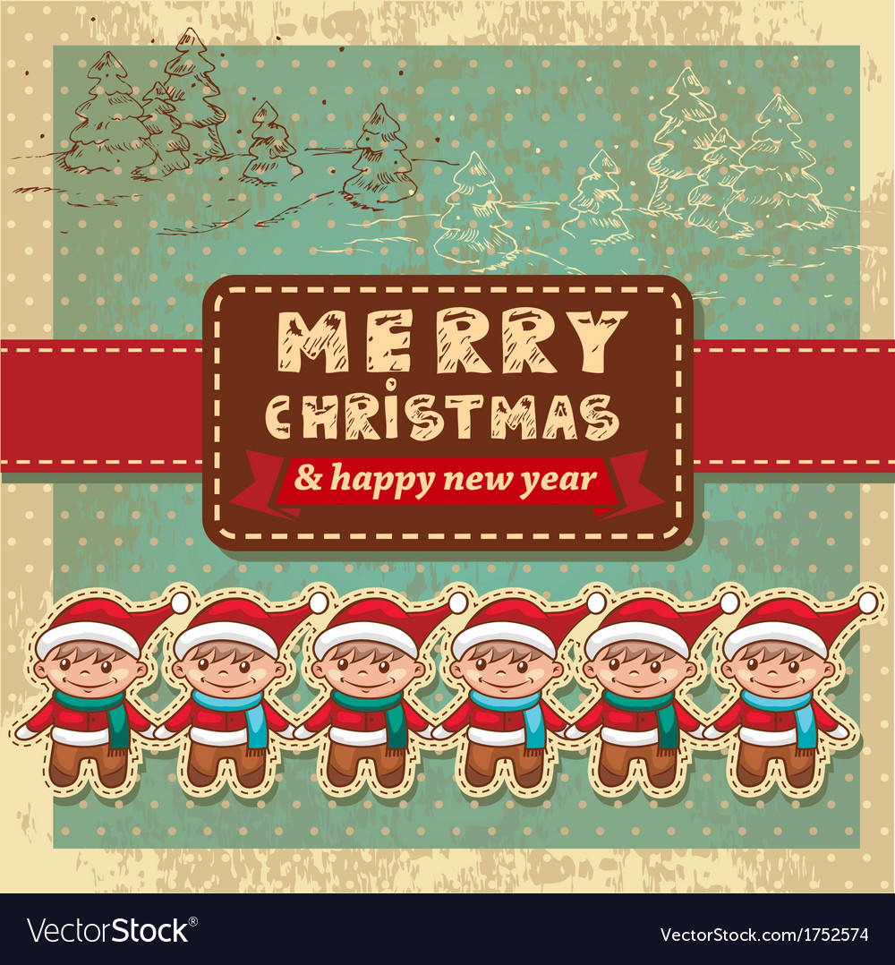 Retro vintage christmas card vector | Price: 1 Credit (USD $1)