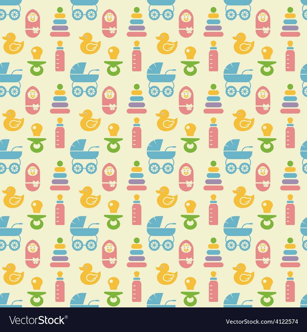 Seamless colored baby items pattern vector | Price: 1 Credit (USD $1)