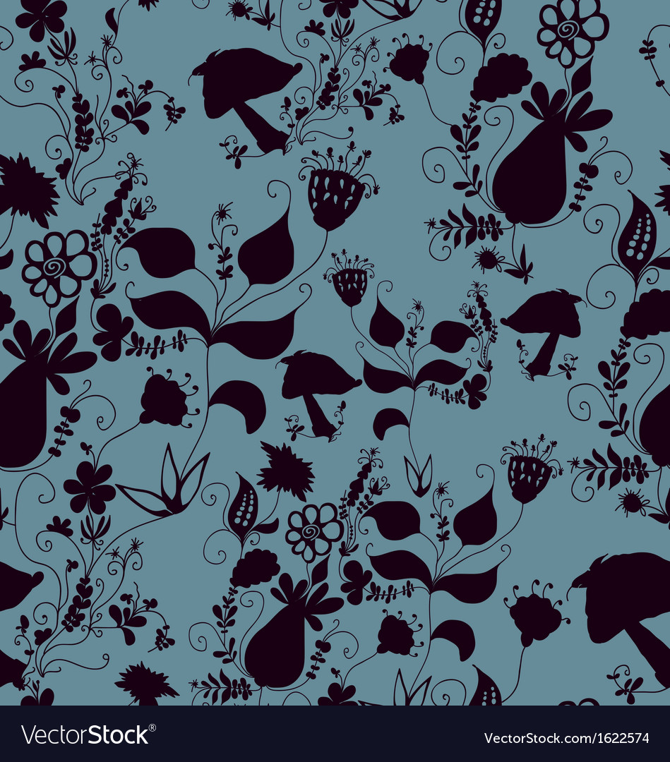Seamless pattern of forest and vegetation vector | Price: 1 Credit (USD $1)