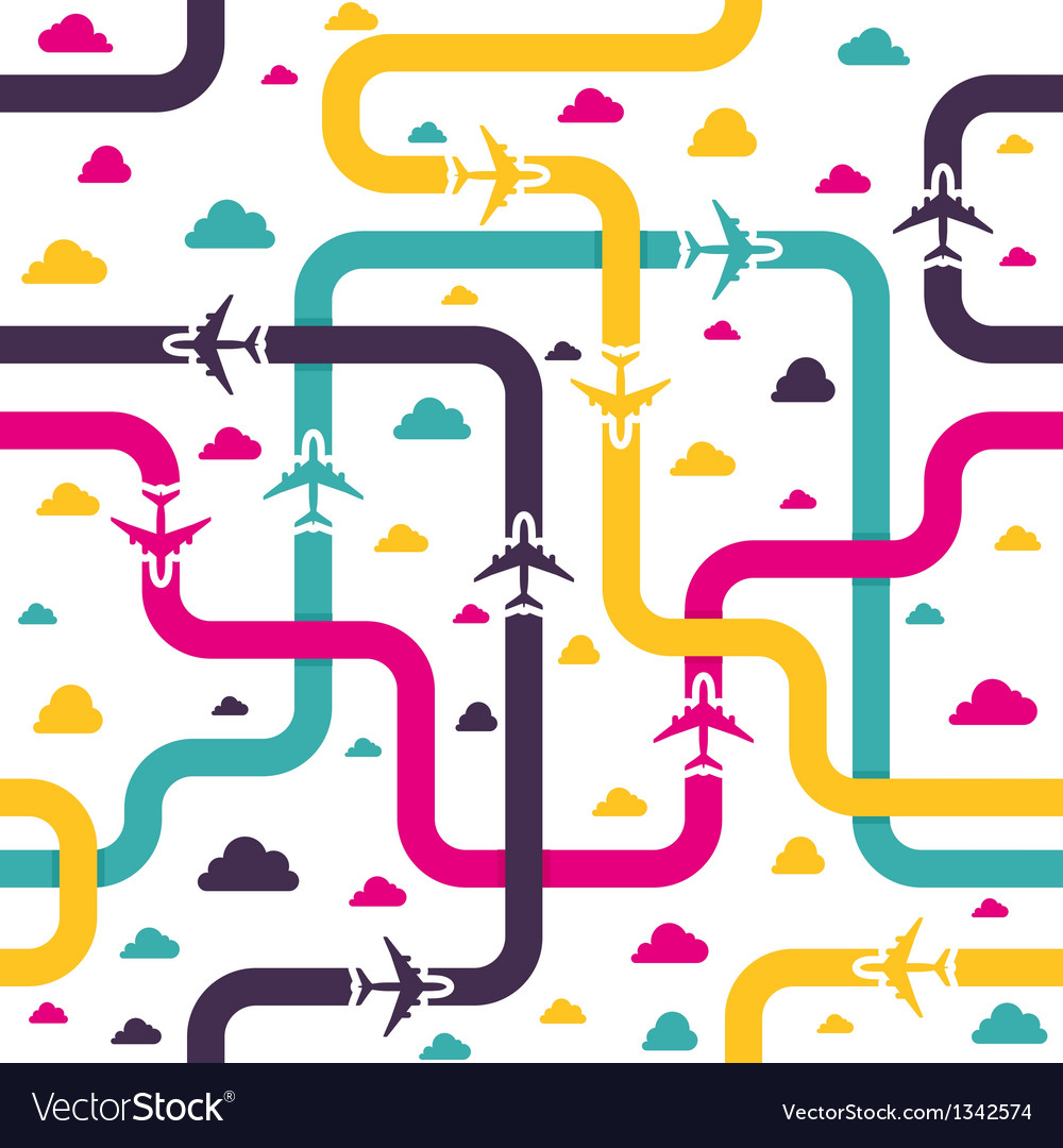 Seamless pattern with colorful airplanes vector | Price: 1 Credit (USD $1)
