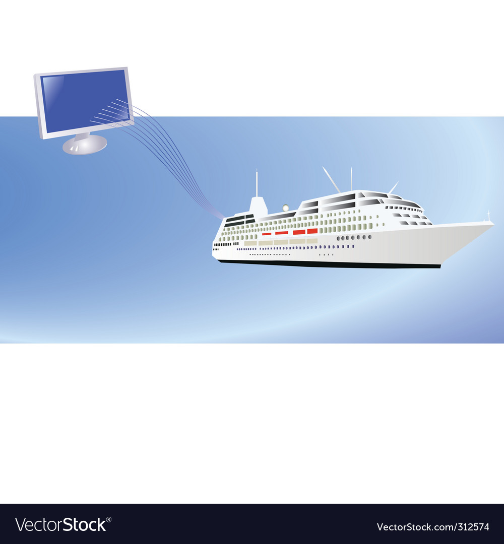 Ship and computer vector | Price: 1 Credit (USD $1)