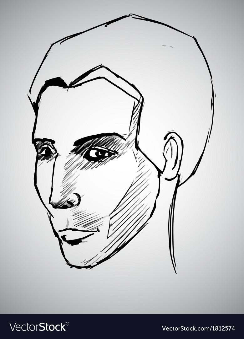 Sketch portrait of a man vector | Price: 1 Credit (USD $1)