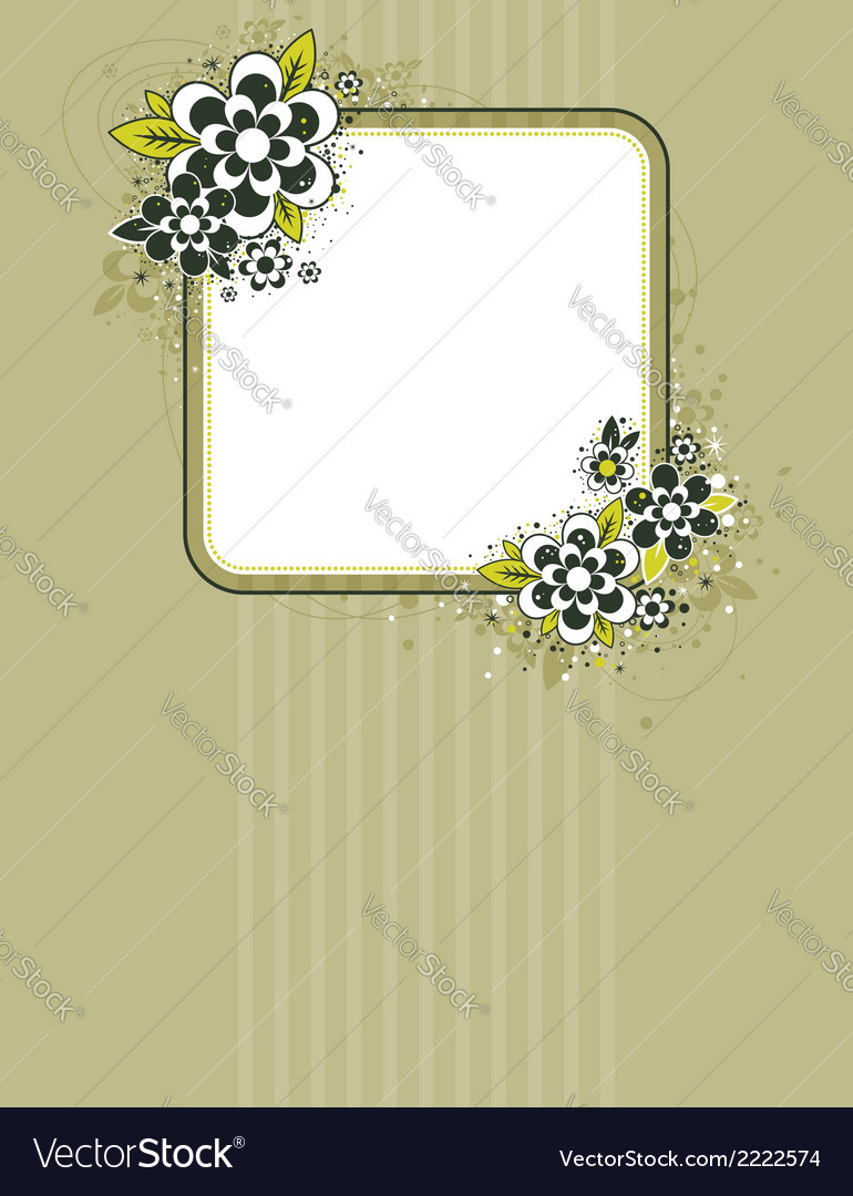 Square frame with flowers on striped background vector | Price: 1 Credit (USD $1)