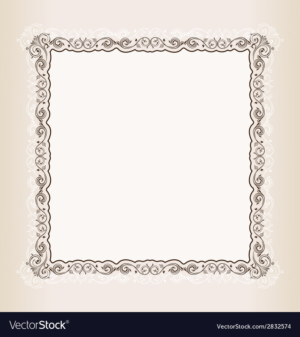 Vintage square frame retro pattern ornament vector | Price: 1 Credit (USD $1)