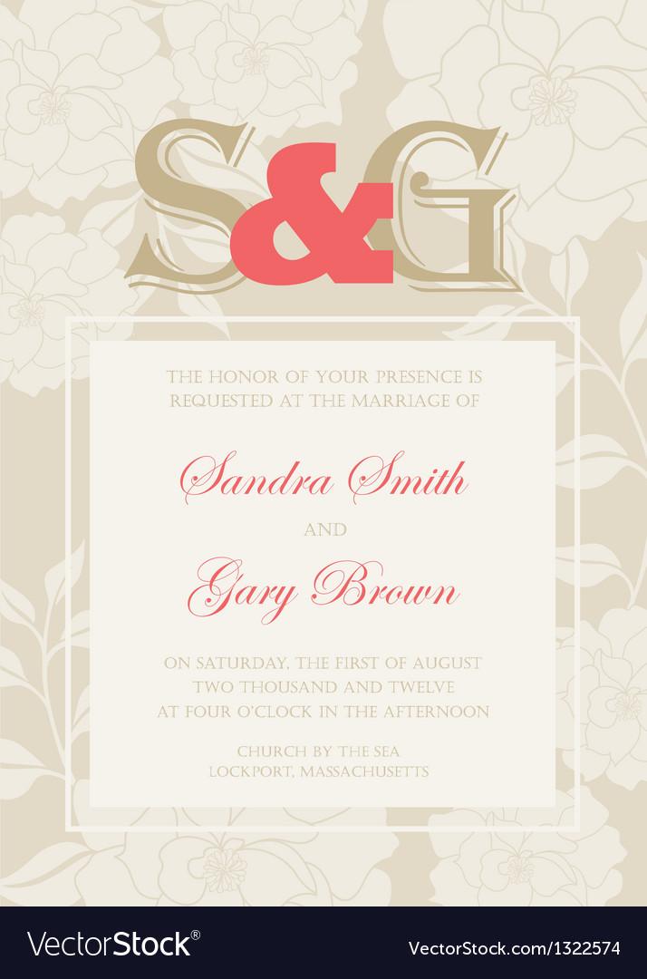 Wedding invitation floral card vector | Price: 1 Credit (USD $1)