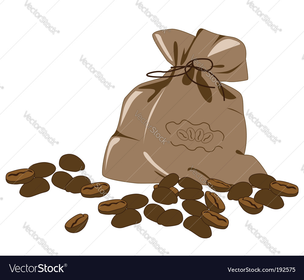 Coffee beans and bag vector | Price: 1 Credit (USD $1)