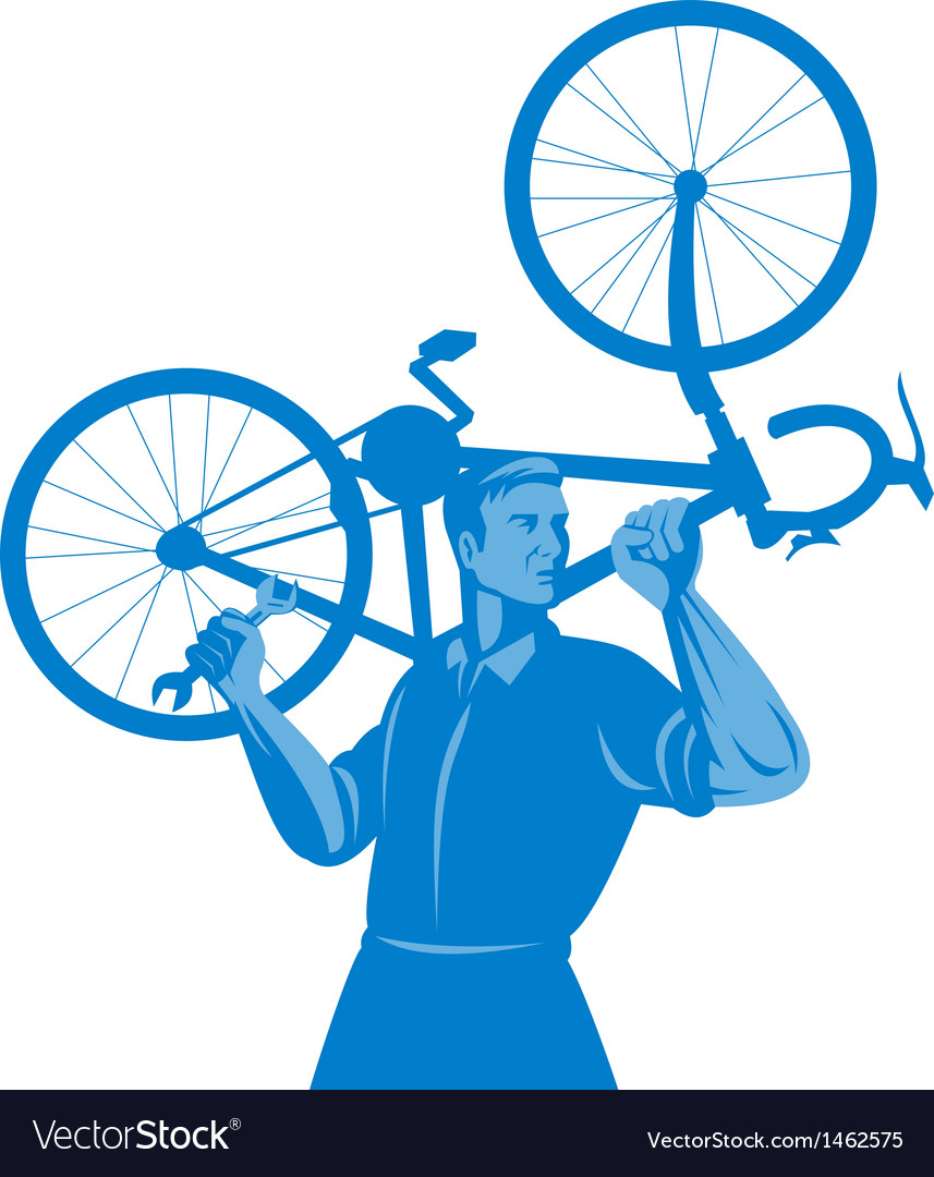 Cyclist mechanic holding spanner and carry bicycle vector | Price: 1 Credit (USD $1)