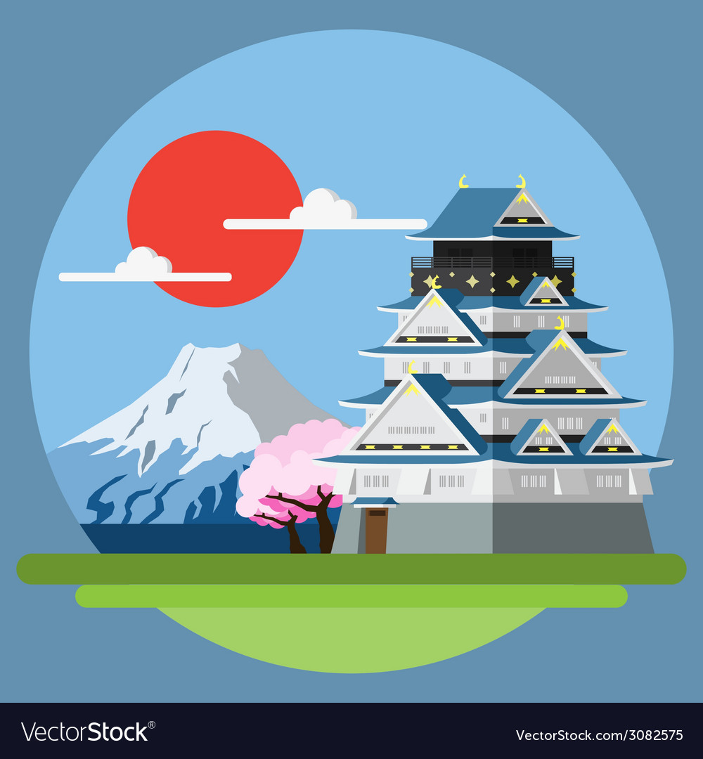 Flat design landscape of japan vector | Price: 1 Credit (USD $1)