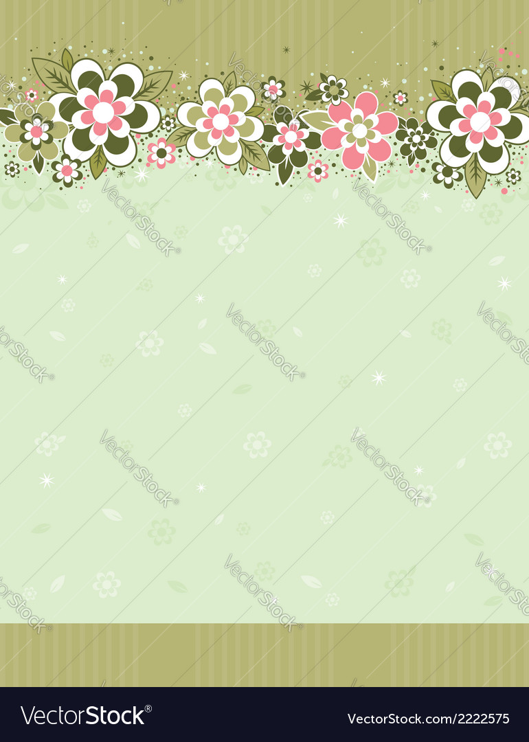 Frame with flowers on striped background vector | Price: 1 Credit (USD $1)
