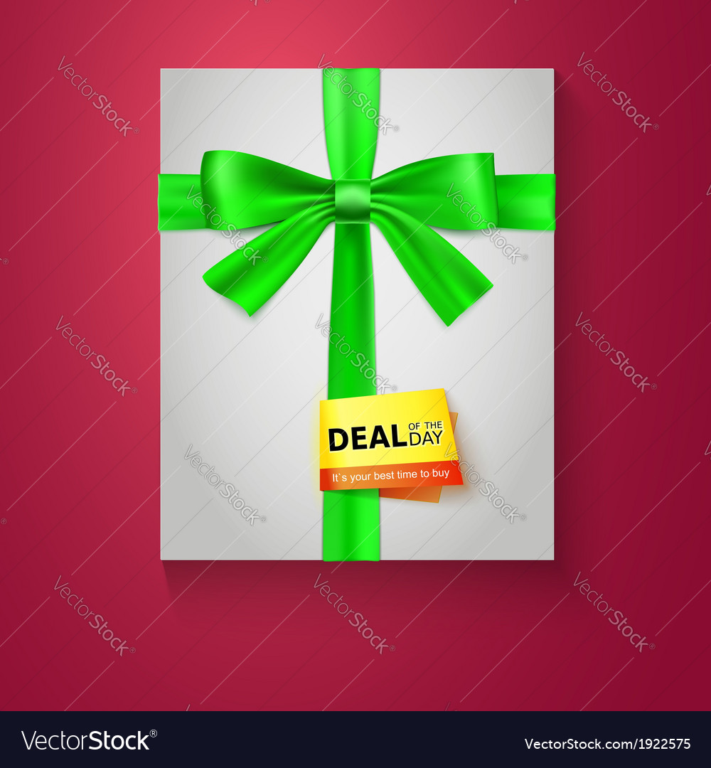 Gift box with green bow on red background deal of vector | Price: 1 Credit (USD $1)