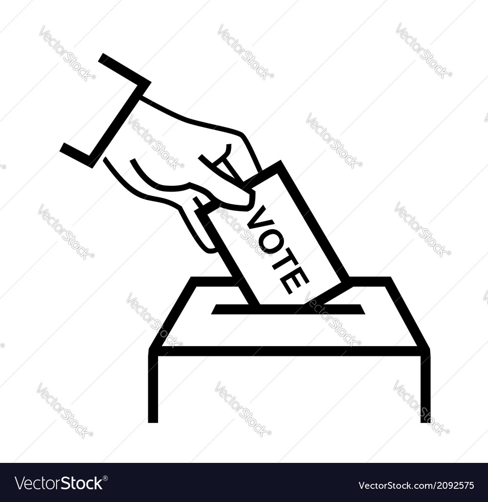Hand putting a voting ballot vector | Price: 1 Credit (USD $1)