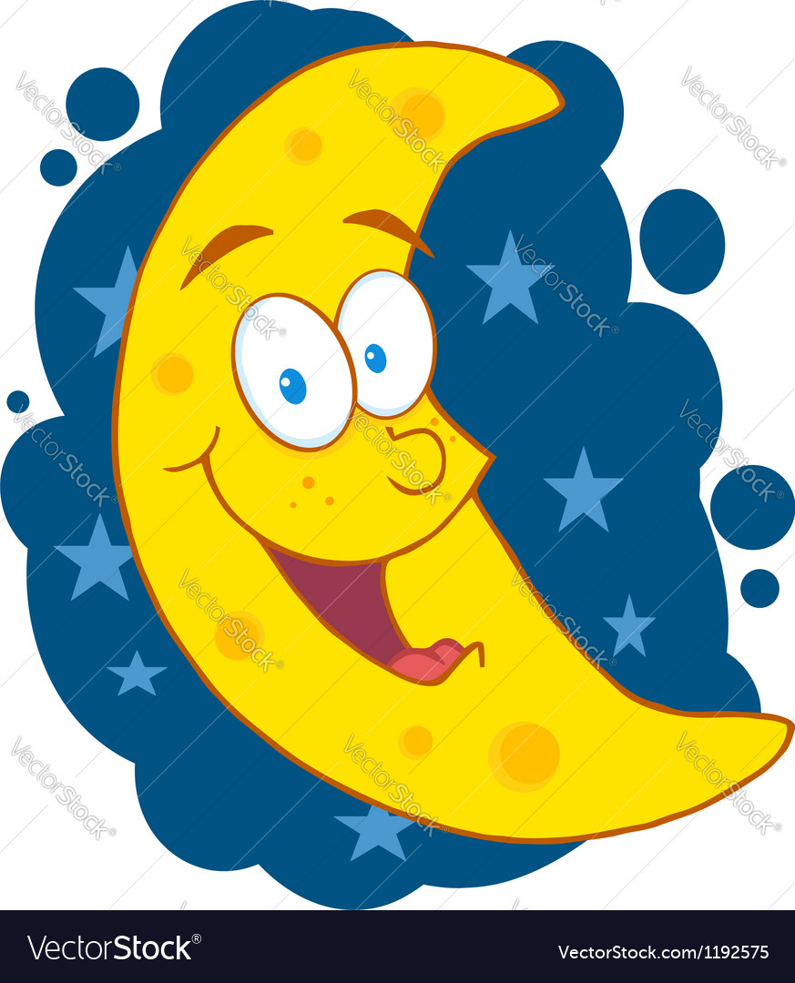 Moon mascot cartoon character in the sky vector | Price: 1 Credit (USD $1)