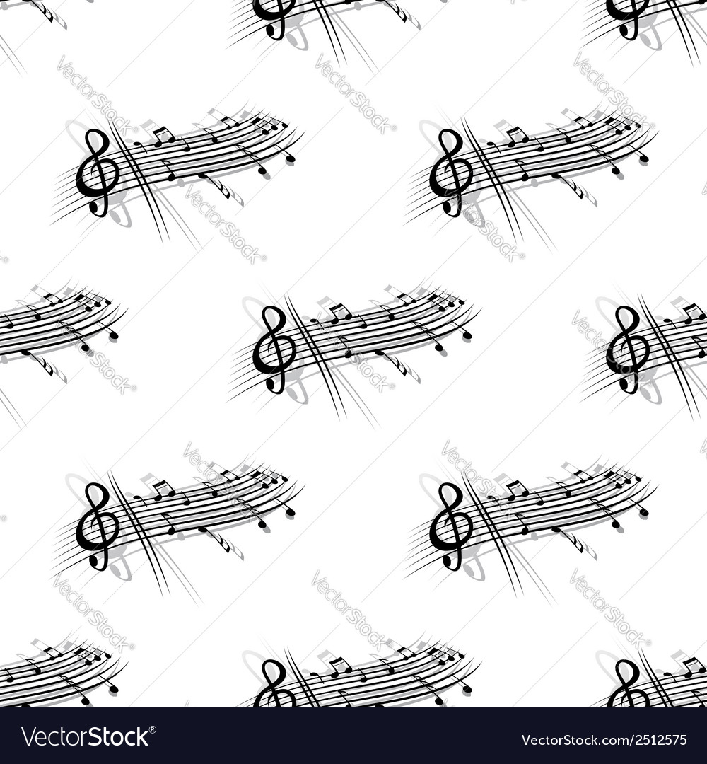 Music score and notes background seamless pattern vector | Price: 1 Credit (USD $1)