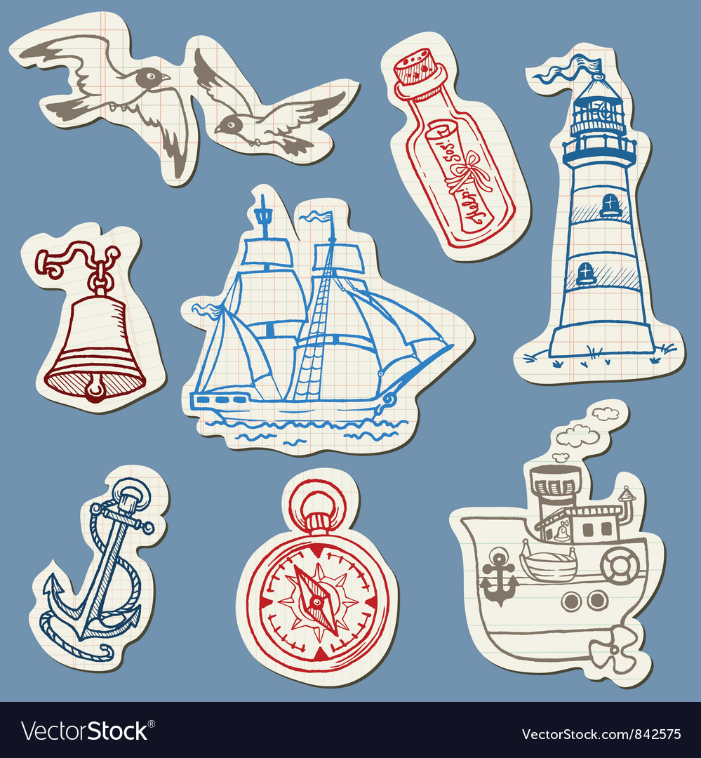 Nautical doodles on torn paper vector | Price: 1 Credit (USD $1)