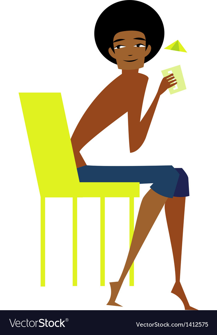 Side view of man sitting on chair vector | Price: 3 Credit (USD $3)